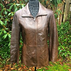 Wilsons Brown Leather Jacket w/Quilted Lining